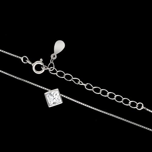 Srebrny naszyjnik z cyrkonią - Romb pr.925