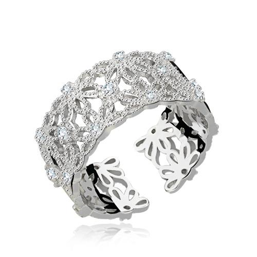 Srebrny pierścionek z cyrkoniami - Kwiaty pr.925