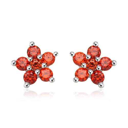 Srebrne kolczyki z cyrkoniami - Czerwony Kwiat pr.925