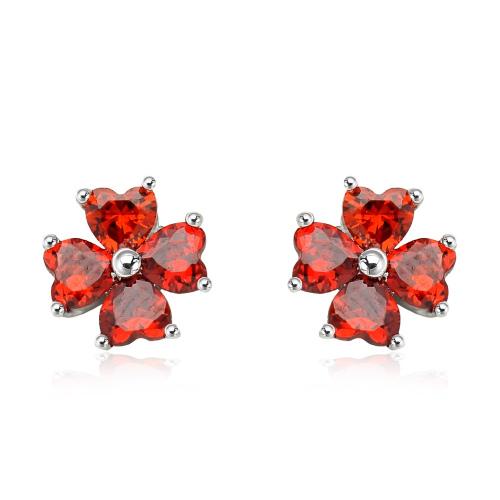 Srebrne kolczyki z cyrkoniami - Miłosne Kwiatki pr.925