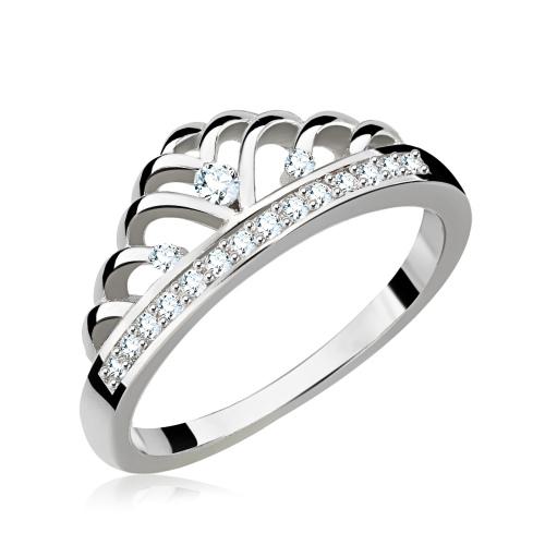 Srebrny pierścionek z cyrkoniami - Korona pr.925