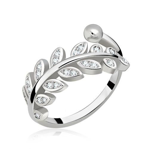 Srebrny pierścionek z cyrkoniami - Gałązka Oliwna pr.925