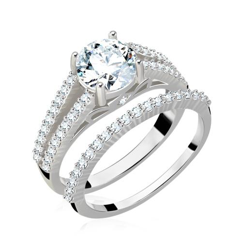 Zestaw srebrnych pierścionków z cyrkoniami pr.925