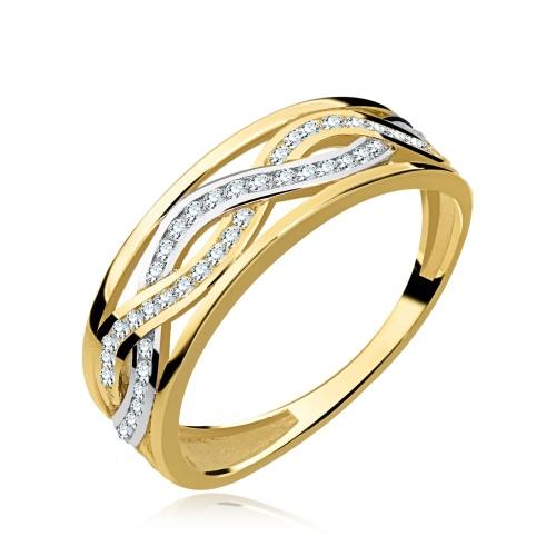 Złoty przeplatany pierścionek z cyrkoniami pr.333