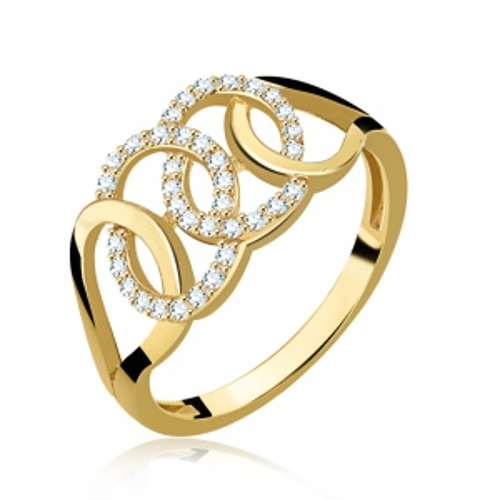 Złoty pierścionek z cyrkoniami pr.585