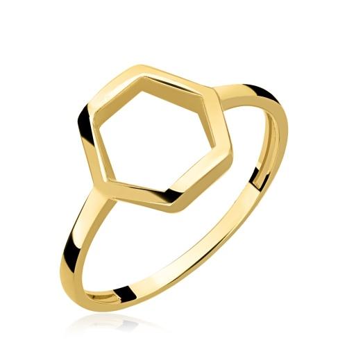 Złoty pierścionek - Sześciobok pr.585