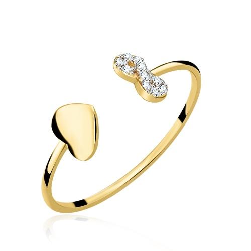 Złoty pierścionek z cyrkoniami - Nieskończona Miłość pr.585