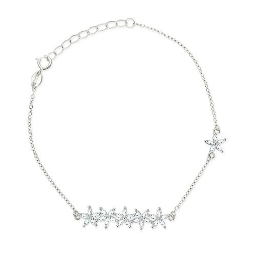 Srebrna bransoletka z cyrkoniami - Bukiet kwiatków pr.925