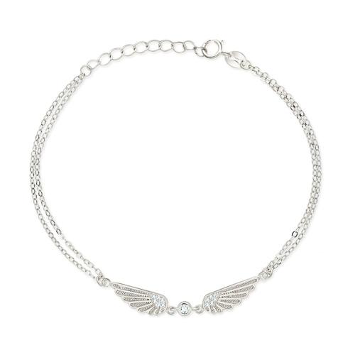 Srebrna bransoletka z cyrkoniami - Skrzydła pr.925