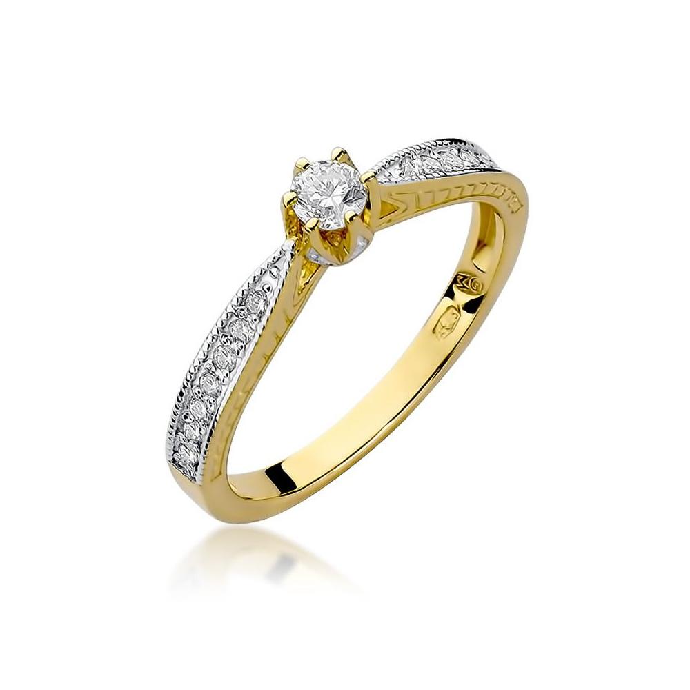 Pierścionek zaręczynowy 585 złoto z brylantami brylantami 0,30ct