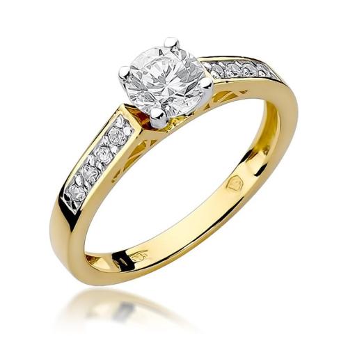 Pierścionek zaręczynowy 585 złoto z brylantami brylantami 0,42ct
