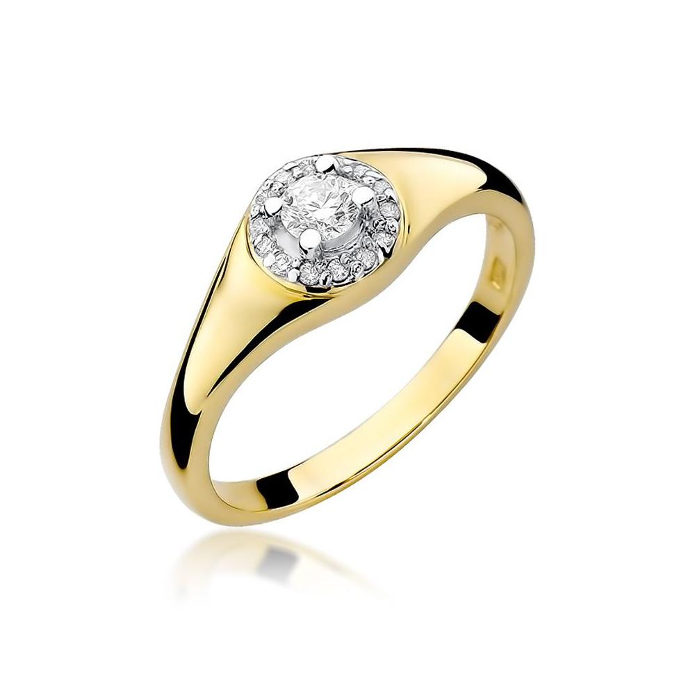 Pierścionek zaręczynowy 585 złoto z brylantami 0,17ct