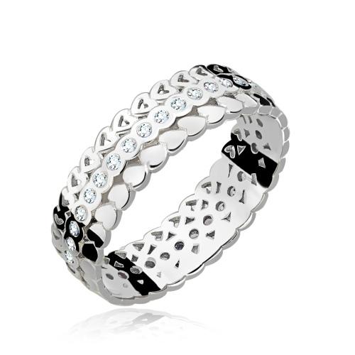 Srebrny pierścionek z cyrkoniami - Serduszka pr.925