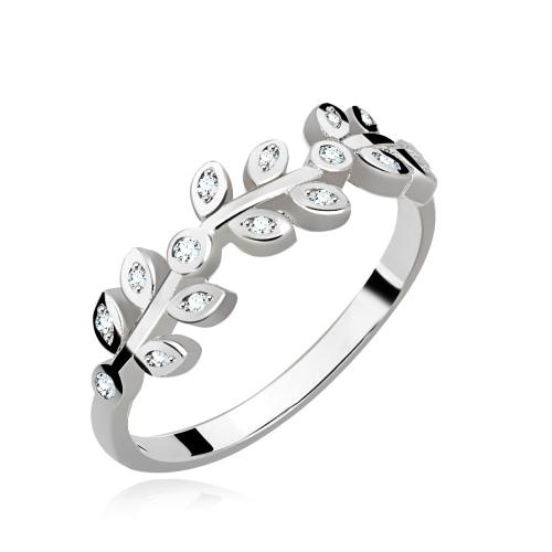 Srebrny pierścionek z cyrkoniami - Listki pr.925