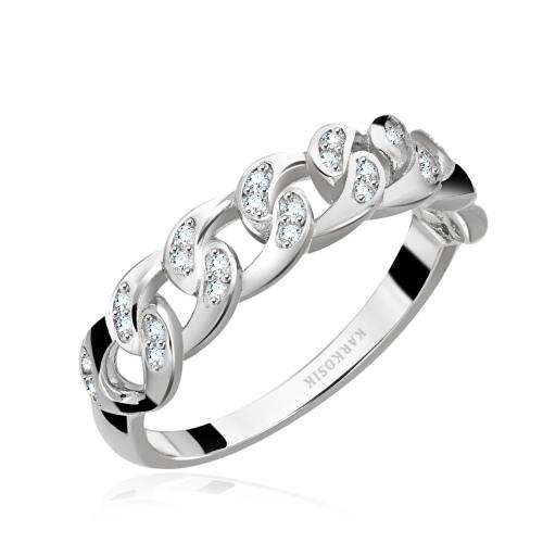Srebrny pierścionek z cyrkoniami - Łańcuch pr.925