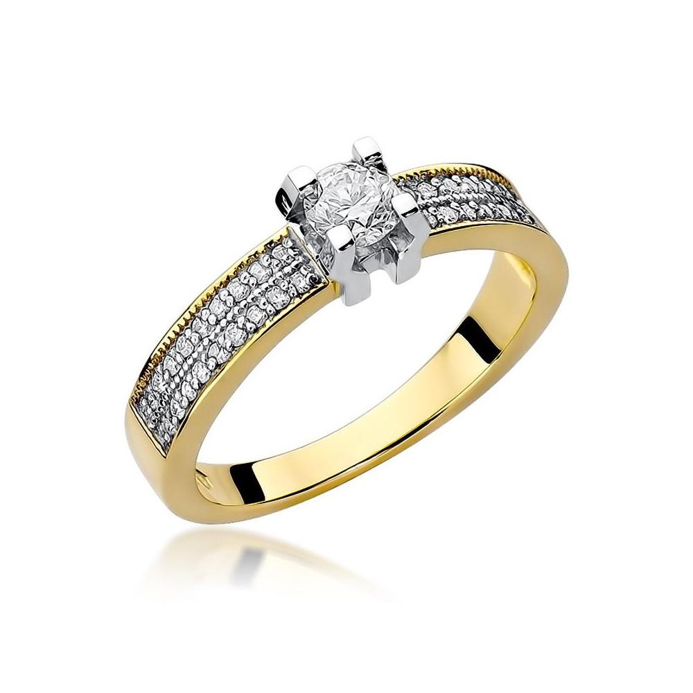 Pierścionek zaręczynowy 585 złoto z brylantami 0,48ct