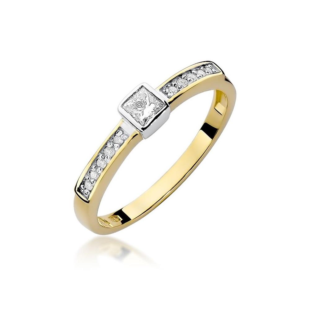 Pierścionek zaręczynowy 585 złoto z brylantami 0,24ct