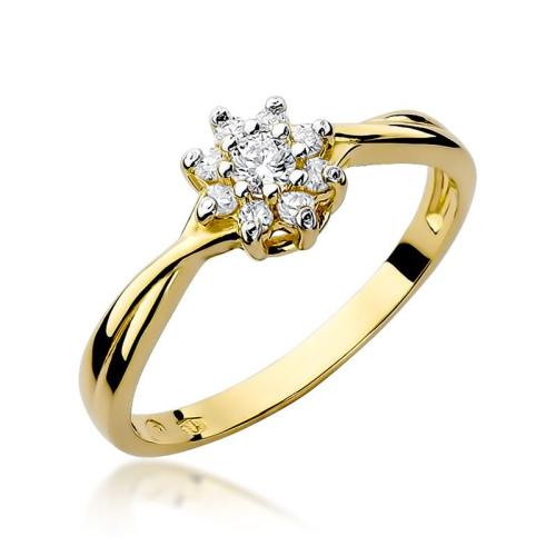 Pierścionek zaręczynowy 585 złoto z brylantami 0,22ct