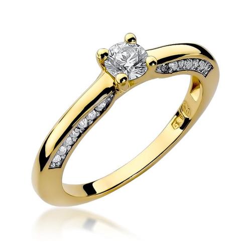 Pierścionek zaręczynowy 585 złoto z brylantami 0,44ct