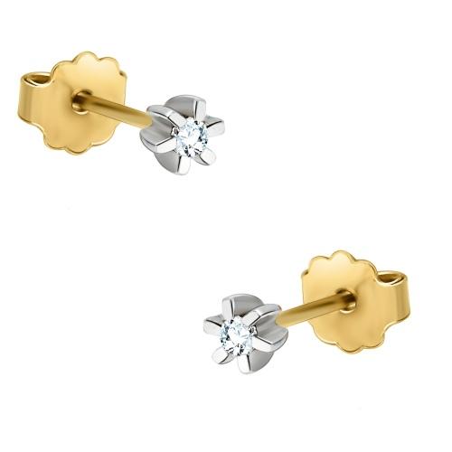 Złote kolczyki z brylantami 0,07ct - pr.585