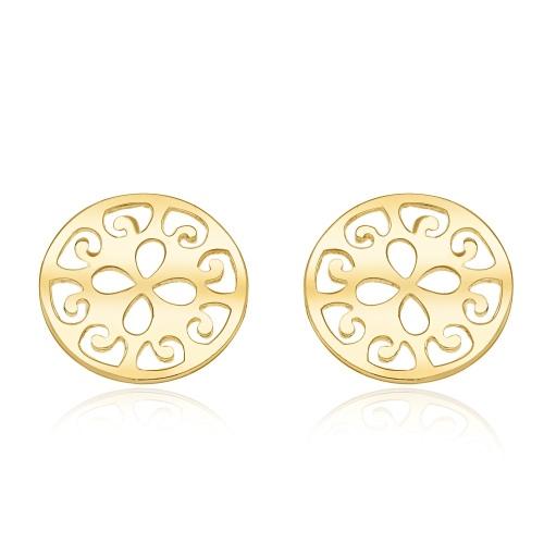 Złote kolczyki - Ażurowe Monety pr.585