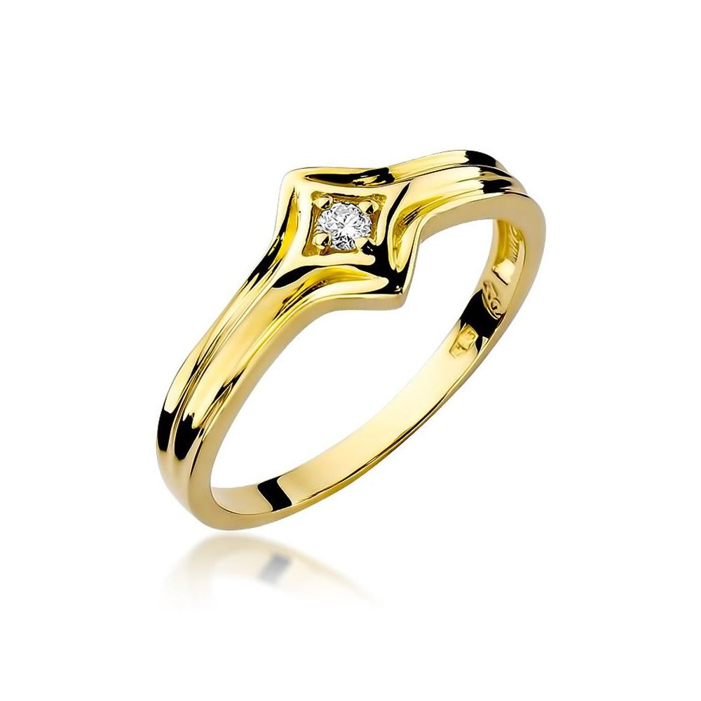 Pierścionek zaręczynowy 585 złoto z brylantem 0,05ct