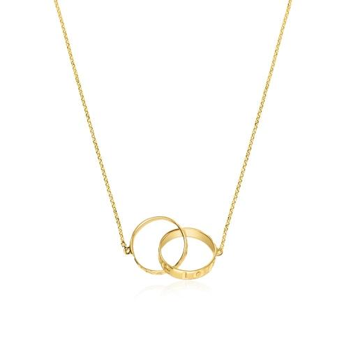 Złoty naszyjnik celebrytka - Obrączki pr.585
