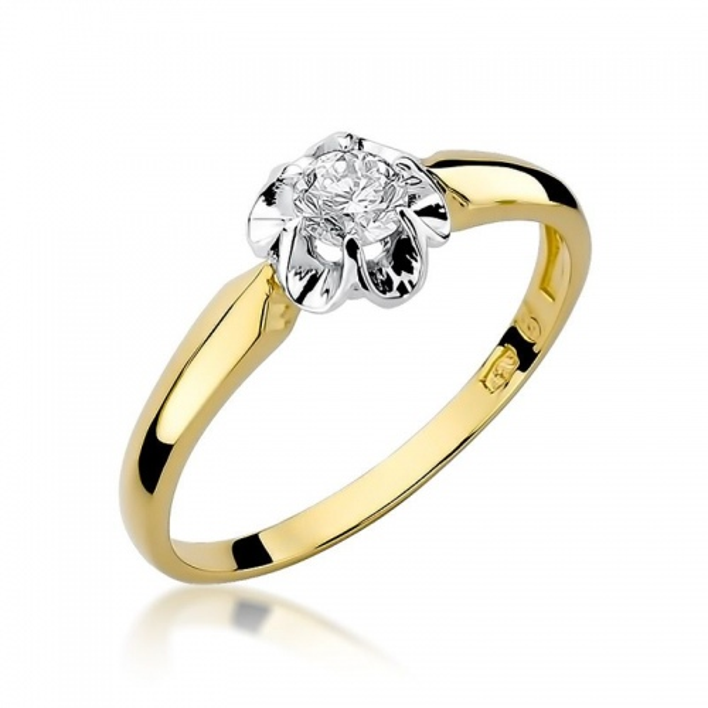 Pierścionek zaręczynowy 585 złoto z brylantem 0,23ct