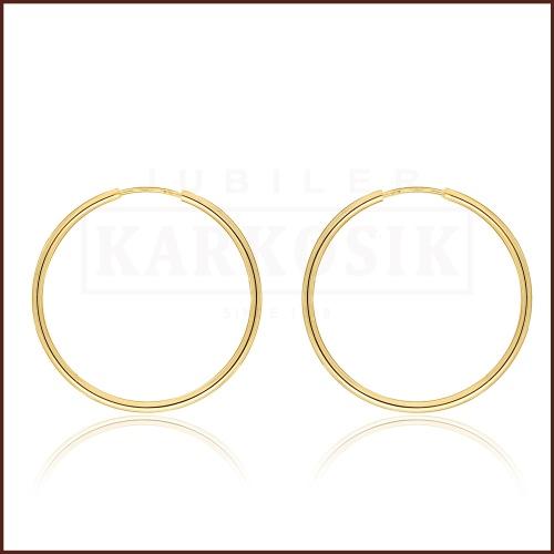 Złote kolczyki - Koła - 4 cm pr.585