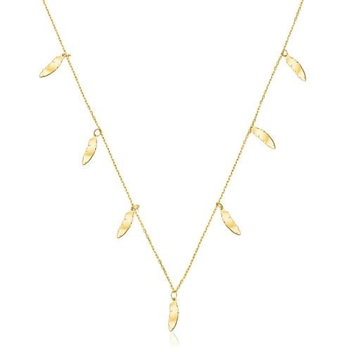 Złoty naszyjnik celebrytka - Subtelne Piórka pr.585