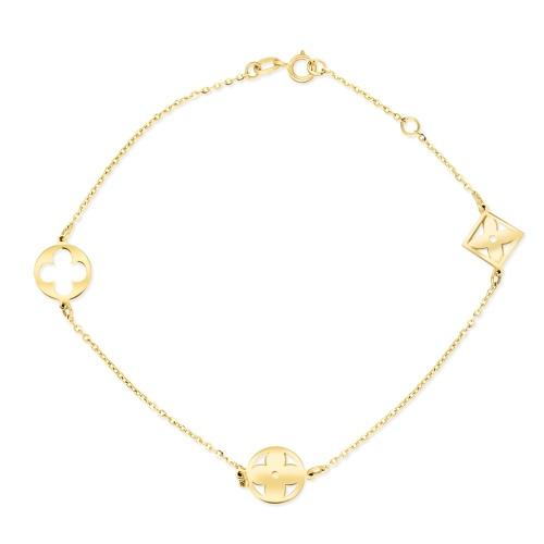 Złota bransoletka celebrytka - Lilie pr.333