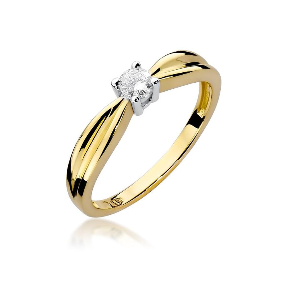 Pierścionek zaręczynowy 585 złoto z brylantem 0,15ct