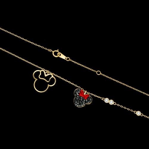 Pozłacany naszyjnik celebrytka z cyrkoniami - Myszka pr.925