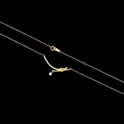 Pozłacany naszyjnik celebrytka z cyrkoniami - Węzeł pr.925