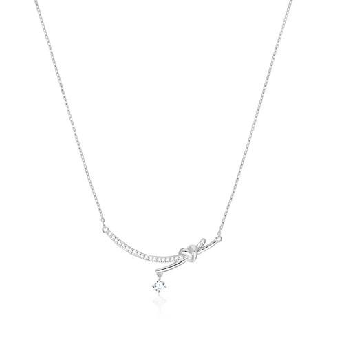 Srebrny naszyjnik celebrytka z cyrkoniami - Węzeł pr.925