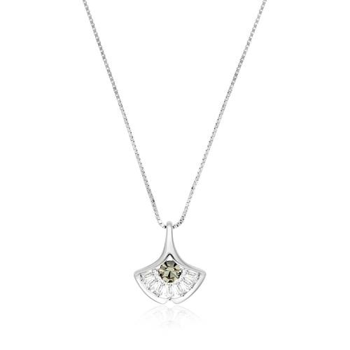 Srebrny naszyjnik celebrytka z cyrkoniami - Miłorząb pr.925
