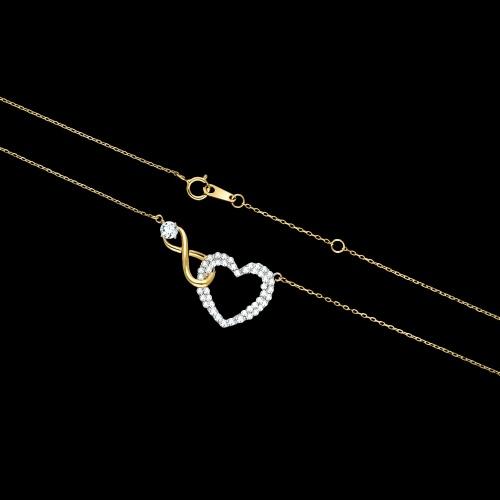 Pozłacany naszyjnik celebrytka z cyrkoniami - Nieskończona Miłość pr.925