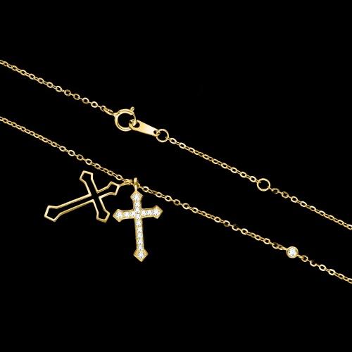 Pozłacany naszyjnik celebrytka z cyrkoniami - Krzyżyki pr.925