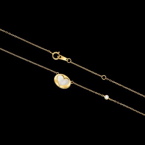 Pozłacany naszyjnik celebrytka z cyrkonią - Serce pr.925