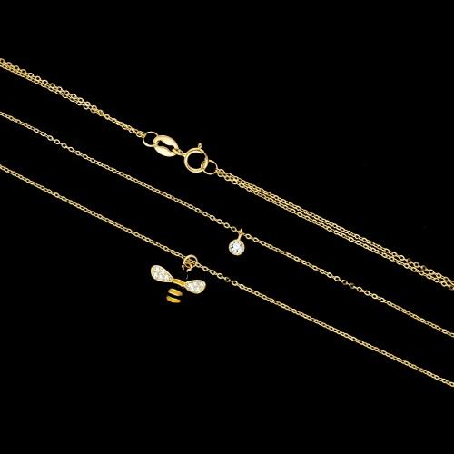 Podwójny pozłacany naszyjnik celebrytka z cyrkoniami - Pszczoła pr.925