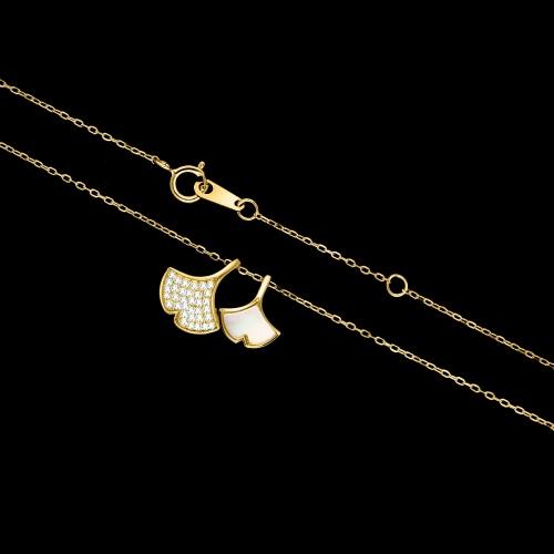 Pozłacany naszyjnik celebrytka z cyrkoniami - Liście Miłorzębu pr.925