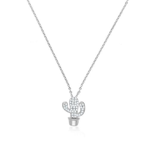 Srebrny naszyjnik celebrytka z cyrkoniami - Kaktus pr.925