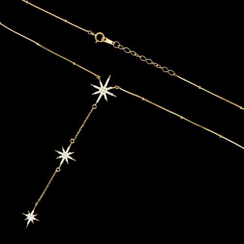 Pozłacany naszyjnik celebrytka z cyrkoniami - Gwiazdy pr.925