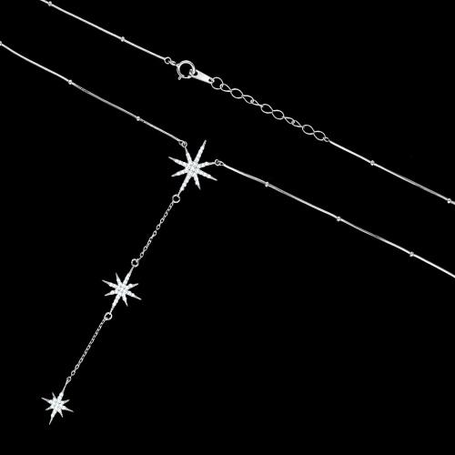 Srebrny naszyjnik celebrytka z cyrkoniami - Gwiazdy pr.925