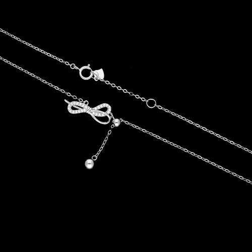 Srebrny naszyjnik celebrytka z cyrkoniami - Kokardka pr.925