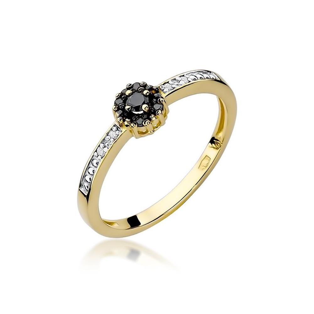 Pierścionek zaręczynowy 585 złoto z czarnymi i białymi brylantami 0,09ct