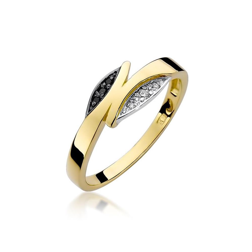 Pierścionek zaręczynowy 585 złoto z czarnymi i białymi brylantami 0,05ct