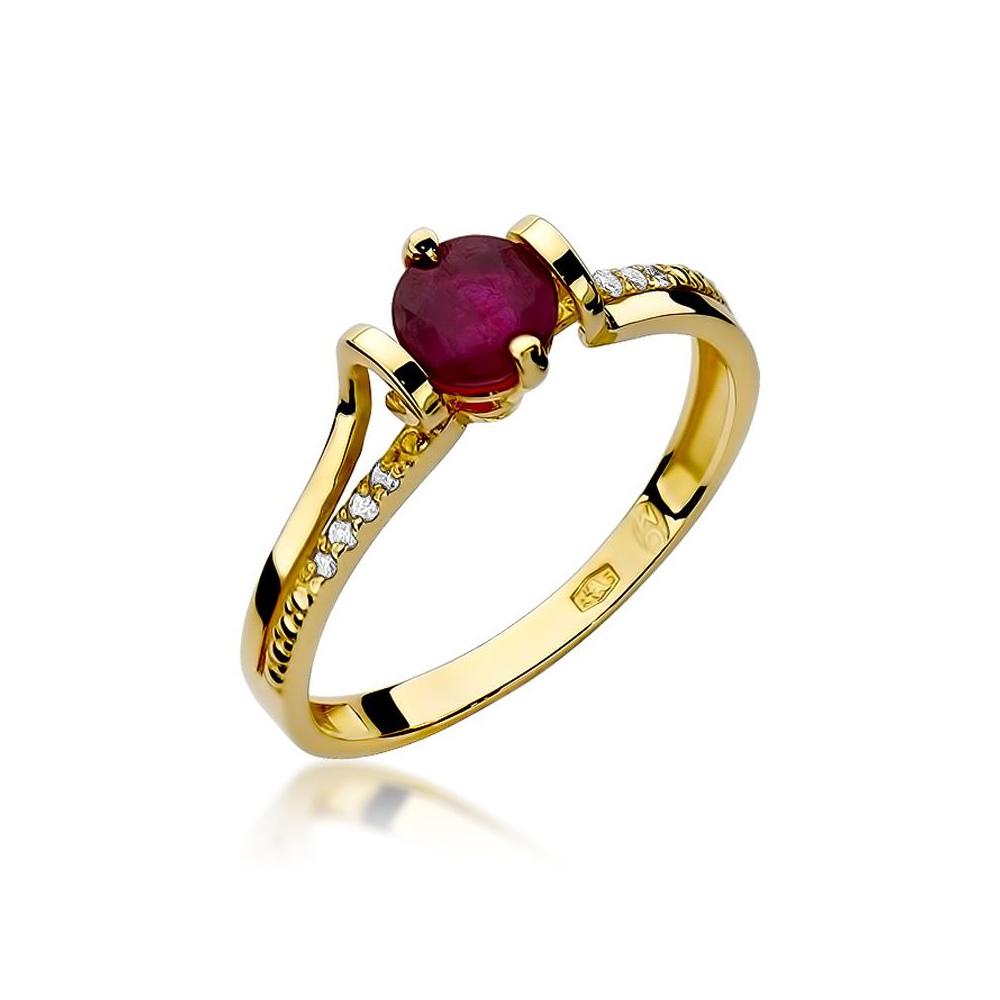 Pierścionek zaręczynowy 585 złoto z granatem 0,60ct i brylantami