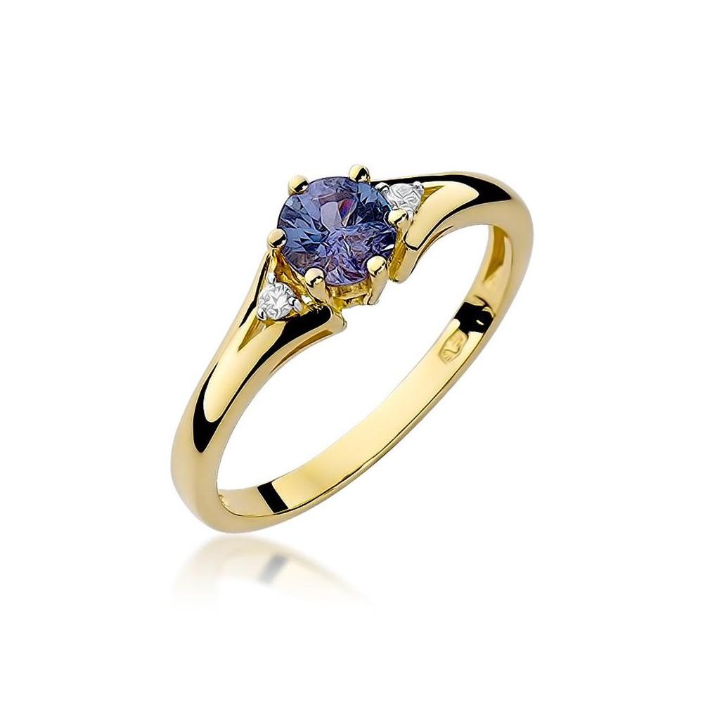 Pierścionek zaręczynowy 585 złoto z szafirem 0,50ct i brylantami