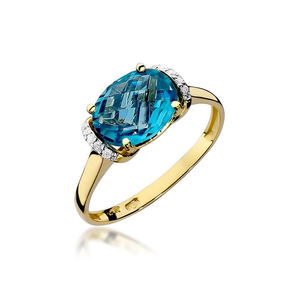 Pierścionek zaręczynowy 585 złoto z topazem 1,70ct i brylantami